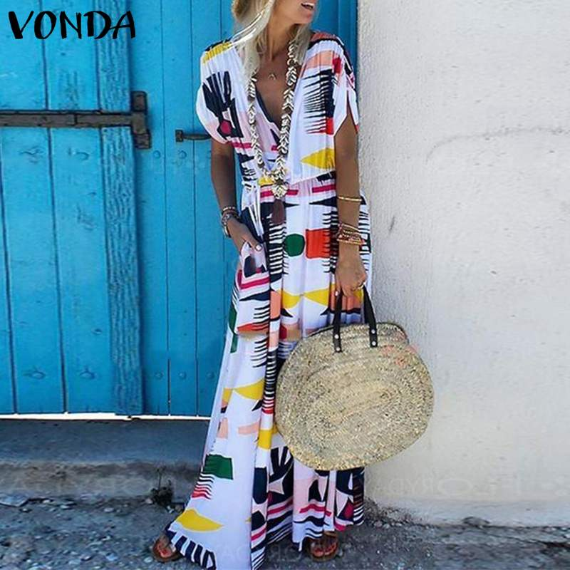 Bohemian Women Print Dress 2019 VONDA Summer Sexy V Neck Short Sleeve Maxi Long Beach Dresses Plus Size Casual Loose Vestidos