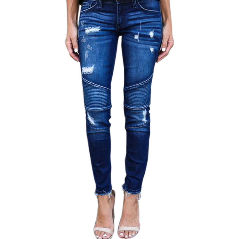 Women Fashion Frayed Pleated Stretchy Pencil   Jeans   Ladies Casual Washed Feet Pants Denim Trousers Plus Size