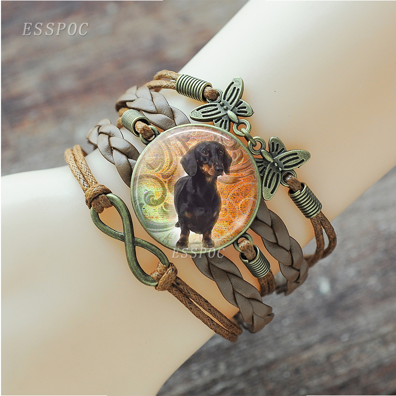 Black Dachshund <font><b>Dog</b></font> Bulldog Jewelry Glass Dome Woven Charn <font><b>Bracelet</b></font> <font><b>Dog</b></font> Pet Bangle <font><b>Dog</b></font> Lover Gifts image