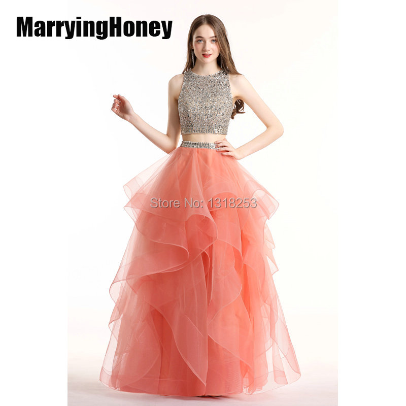Cristal haut court deux pièces robes de bal robe de bal dos ouvert robe de gala robe de bal quinceanera 2019 vestido debutante