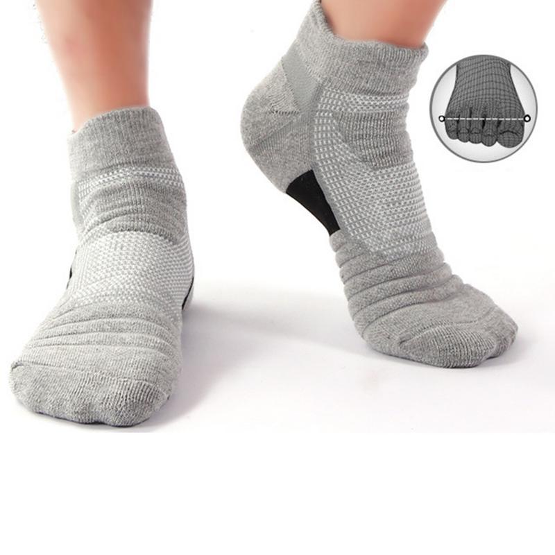 Мужские спортивные носки из полиэстера и хлопка, впитывающие пот, дышащие, противоскользящие, для бега на открытом воздухе, для пеших прогул...