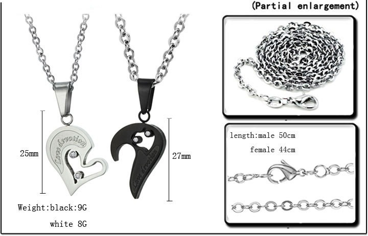 12f45a9e84 His and Her Matching Necklaces Set For Couple Stainless Steel ...