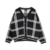 Korean Casual Lattice Thickening Oversize Knitting Loose Men Cardigan 2018 Winter Plaid Youth V neck Sweater Male Coat M 2XL