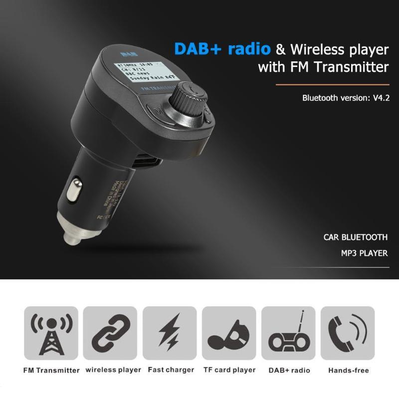1 pouce 128*64 écran matriciel Bluetooth FM transmetteur Kit mains libres voiture DAB/DAB + Radio numérique lecteur MP3 USB chargeur TF carte