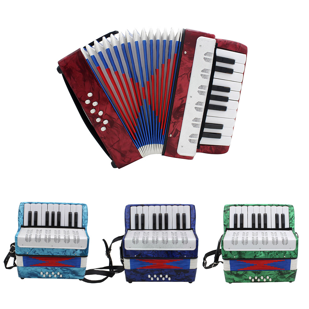 High Quality Mini 17 Key Accordion Durable 8 Bass Accordion Educational Musical Instrument Toy for Amateur
