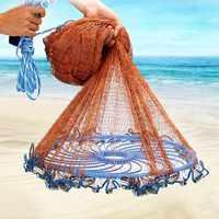 Ulepszony latający dysk amerykański ręcznie obsada sieć rybacka z ołowiane ciężarki rzut średnica sieci rybackiej 300 360 420 480 540 600 720cm