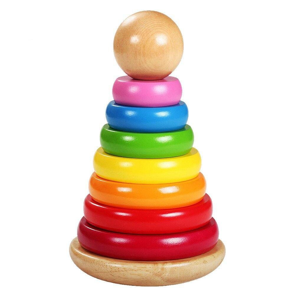 Enfants bébé jouets en bois empilage anneau tour blocs d'apprentissage jouets éducatifs pour enfants arc-en-ciel empiler des jouets en bois