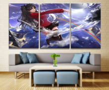 Home Decor Modular Canvas Picture 3 Piece Fate Stay Night Rin Tohsaka Animation Painting Poster Wall For Home Canvas Wholesale japan anime fate stay night [unlimited blade works] original banpresto x good smile company sq figure rin tohsaka