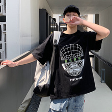 Men's T-shirt 2019 Summer New Hong Kong Style Loose Round Neck T-shirt Student Drop Shoulder Sleeve Youth Casual Men's Clothing цена
