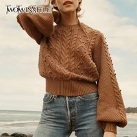 TWOTWINSTYLE Knitting Sweater Women O Neck Lantern Long Sleeve Patchwork Hair Bulb Pullover Tops Female 2019 Spring Fashion