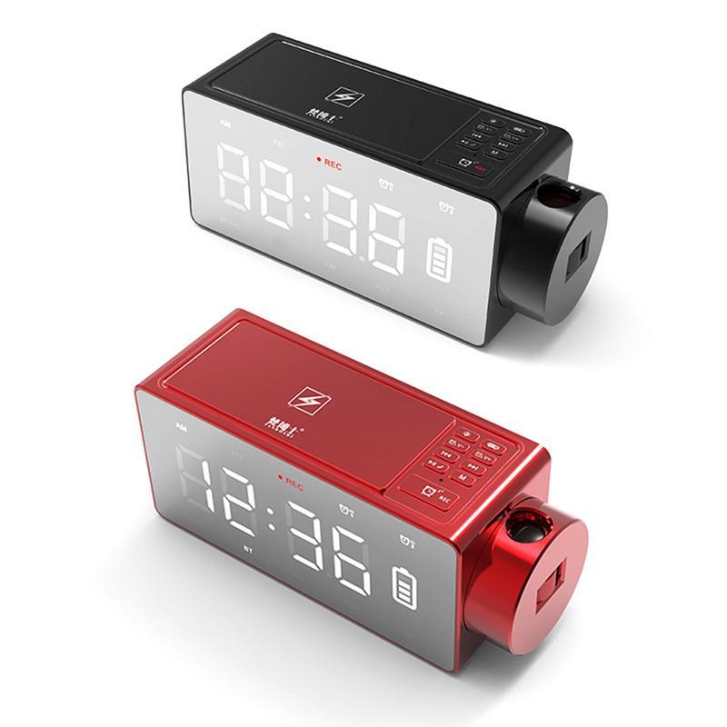 Draadloos Opladen Projectie Digitale Klok Bluetooth Speaker Led Groot Scherm Wekker Tafel Klokken Muziek Speaker Us Plug Rijk En Prachtig