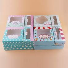 12 pcs kraft paper boxes for packaging cupcake gift box pink window flower wedding cake candy cookies toy party favors