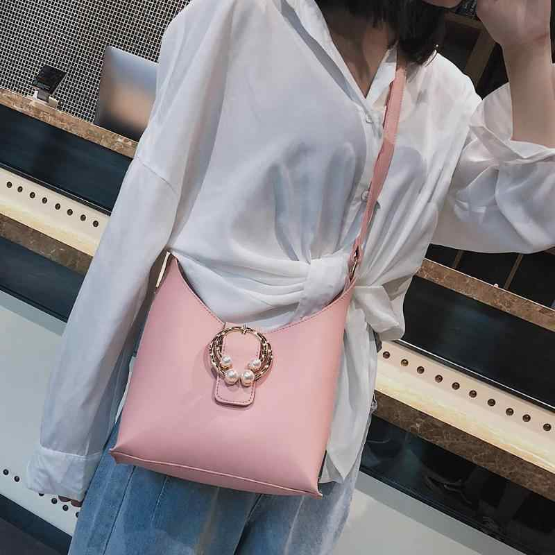 2Pcs/Set Elegant Women Pearls Shoulder Bags Ladies PU Leather Handbags Fashion Solid Color Messenger Bags for Women Handbag Z60