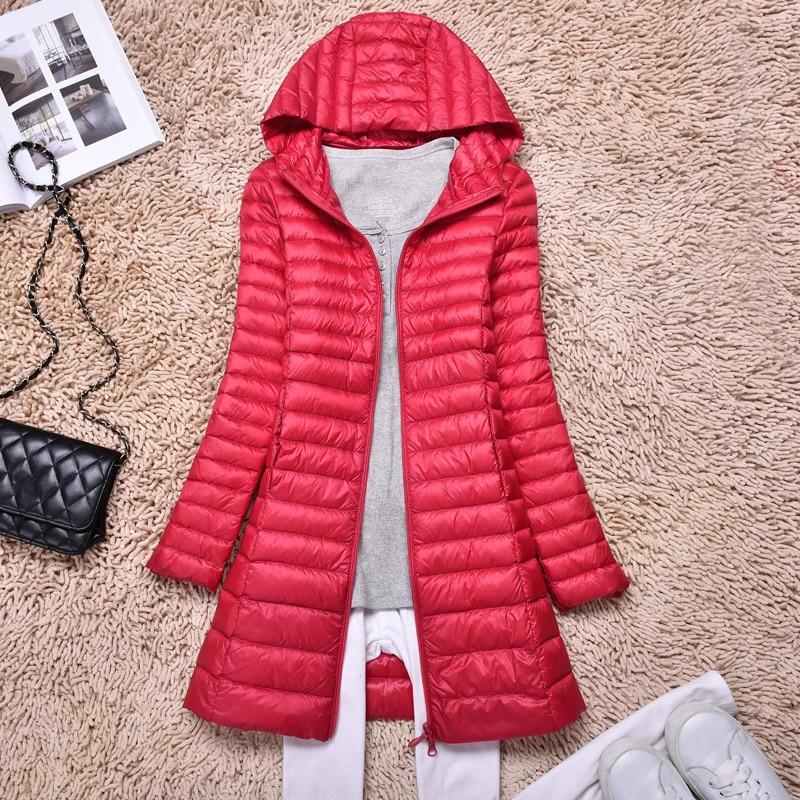 Women Lightweight Winter Duck   Down     Coat   Hooded Long Parka Puffer Jacket Outwear