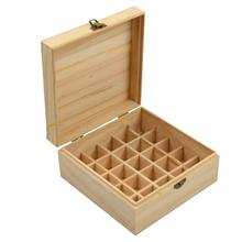 25 Slots Plant Therapy Essential Oil Storage Wood Box Case Solid Wooden Container Holder Organizer For Carrying Home