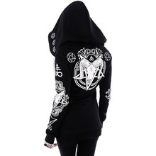 Rosetic Black Hoodie Sweatshirt Women Plus Size Coat Punk Gothic Print Hooded Hipster Streetwear Big Sizes 5XL Goth Dark Hoodies rosetic gothic asymmetric coat vintage lace up autumn winter women black trench outerwear casual dark streetwear retro goth coat