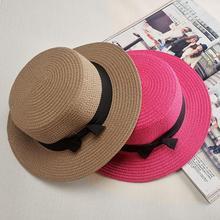 Nuovo Da Sole di Modo di Cappello di Paglia Piatto Paglietta Cappello  Dell arco Delle Ragazze di Estate Cappelli Per Le Donne De. 31f37b548e22