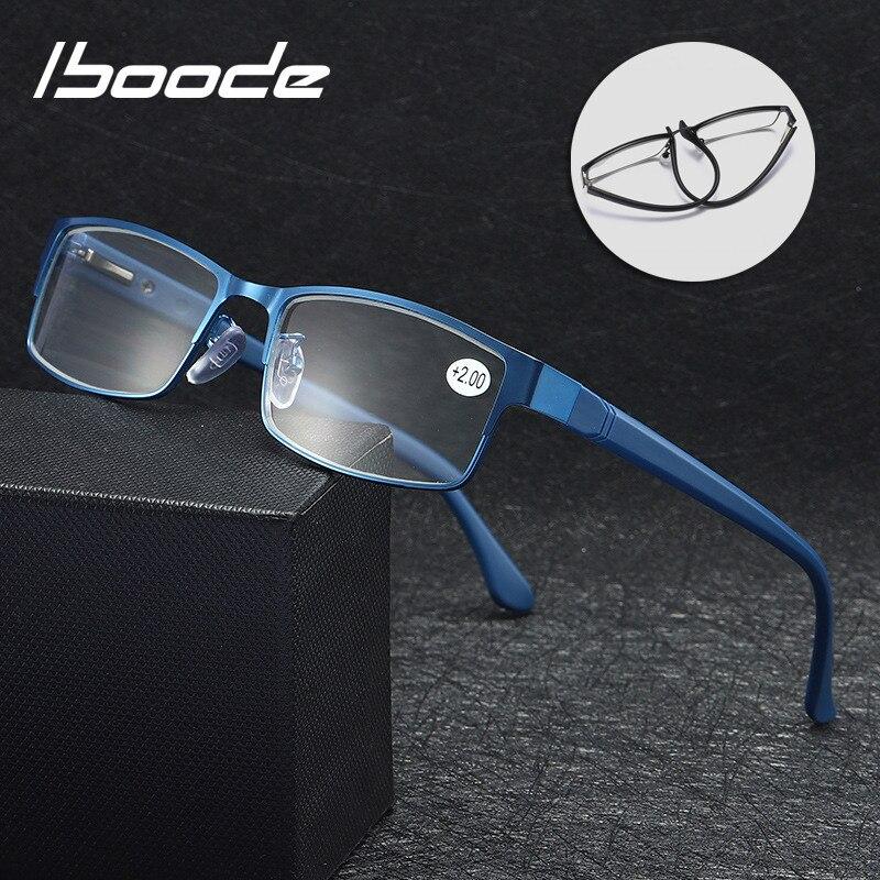 Iboode Men Business Reading Glasses 2019 New Square Presbyopia Eyeglasses Metal + TR90 Reading Eyewear Soft Diopter +1.0 To 4.0