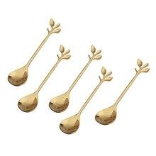 Ложка для размешивания кофе из нержавеющей стали креативная форма ветки листья креативные столовые приборы десертная ложка варенья мороженое чайная ложка, золото