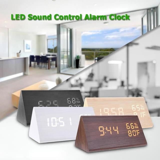 USB Wood LED Alarm Clocks Sound Control Alarm Clock Thermometer Timer Calendar Display Digital Table Clocks