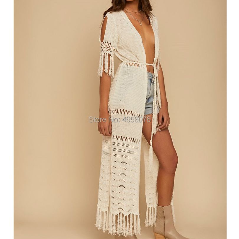 2019 Women Knitting Bikini Cover Up Hollow Crochet Beach Tunic Dress Long Kaftan Tassels Cover-Ups Beach Cardigan White