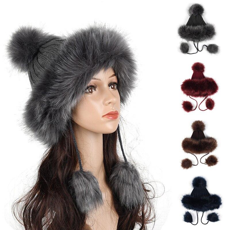 Women Faux Fur Ushanka Russain Cossack Fluffy Pompom Bomber Hats Earflap Female Winter Fleece Snow Ski Caps Trapper Aviator Cap
