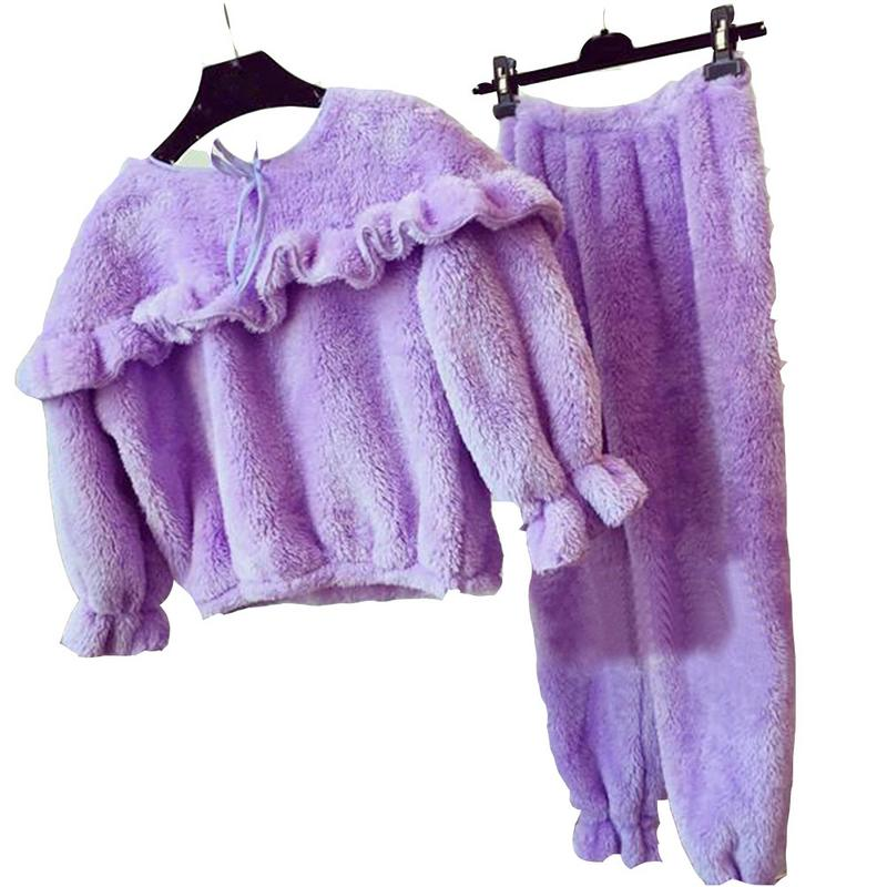 New Feathery Long-sleeved Tops + Pants Pajama Set Thickened Korean Style Plush Pajamas Set Warm Soft Plush Top Trousers Home Set