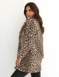 Hirigin 2018 najnowszy Hot kobiet zima Leopard puszysty polar kurtka płaszcz swetry rozpinane z kapturem Jumper topy Clubwear 2