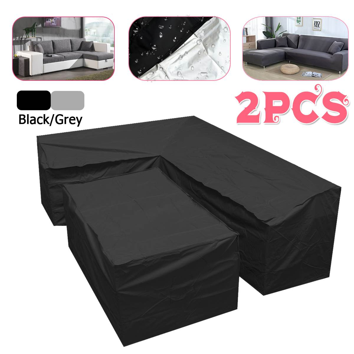 L Shape Dustproof Furniture Cover Waterproof Outdoor Sectional Rain ...