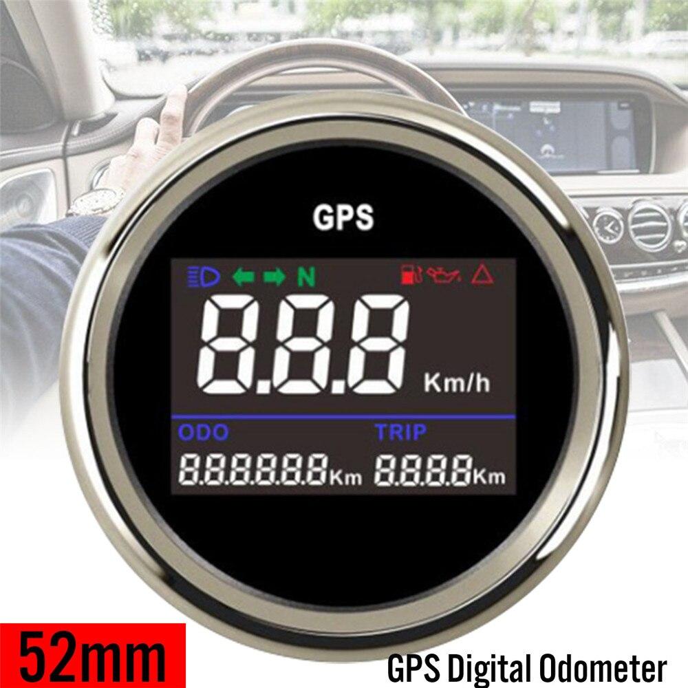 52mm Numérique LCD indicateur de vitesse gps jauge de compteur kilométrique pour Moto Camion Voiture Étanche anti-buée protection contre L'inversion de polarité
