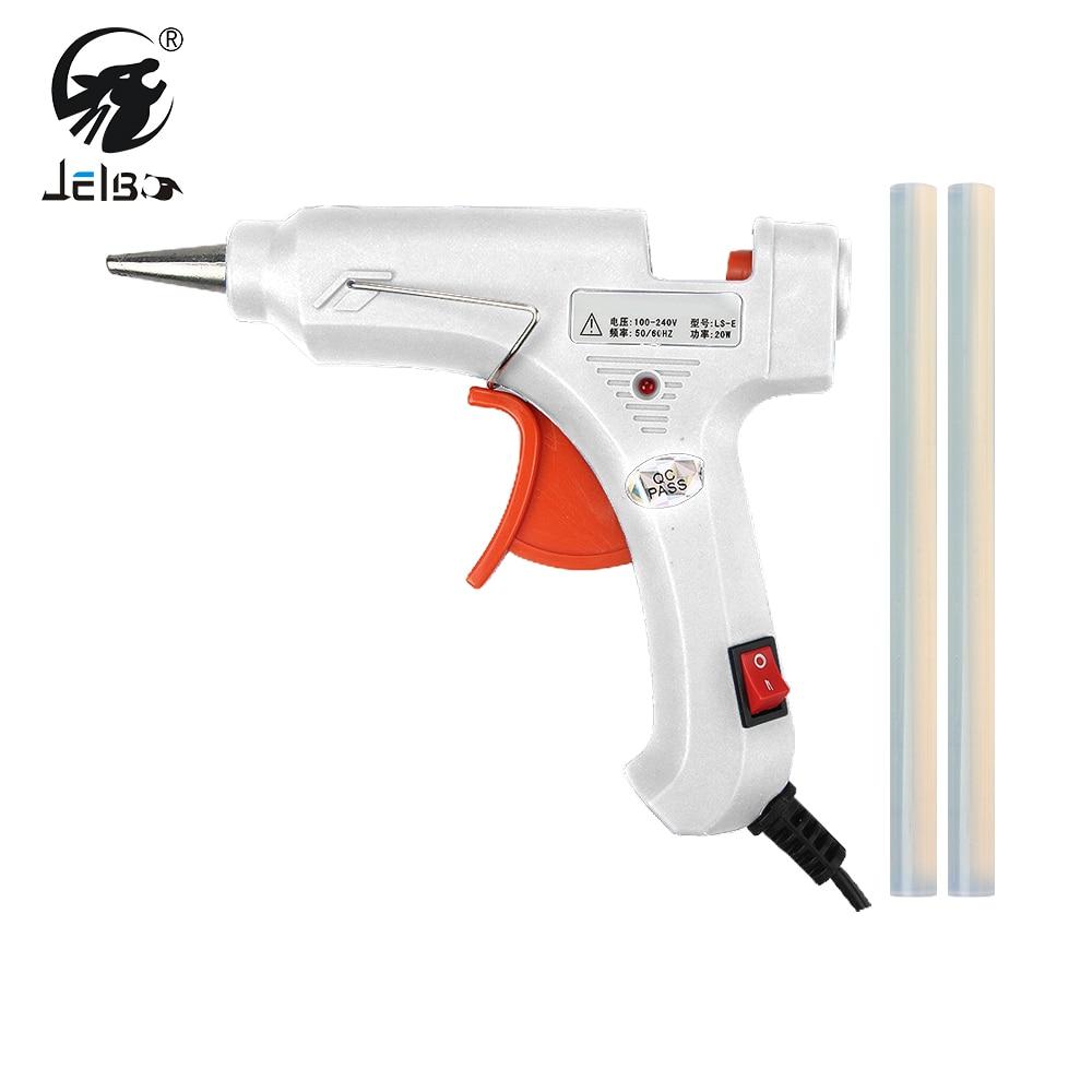 JelBo 20W Hot Melt Glue Gun with Free 2pc 7mm Glue Stick Industrial Mini  Guns Thermo Electric Heat Temperature Repair Tool