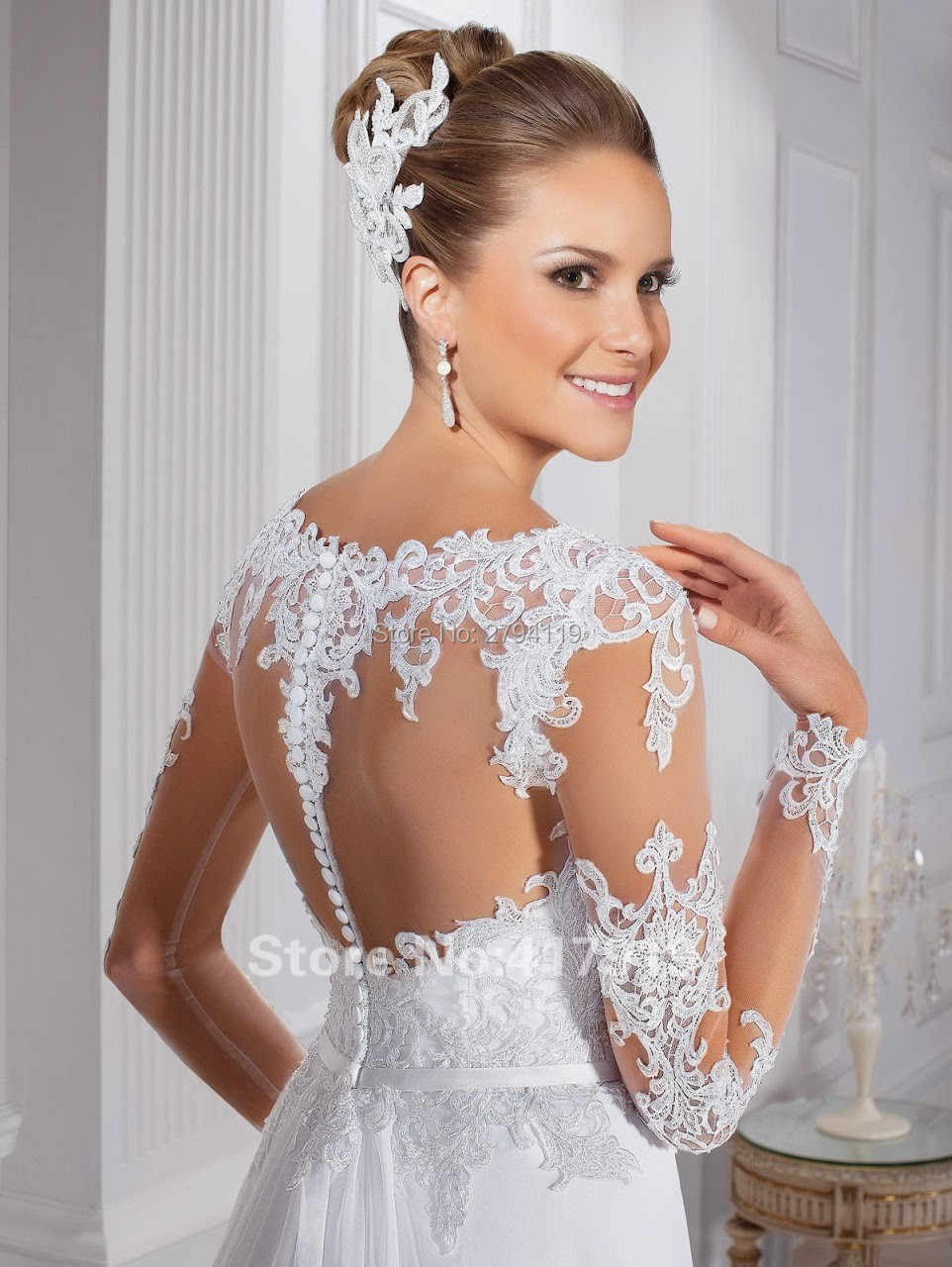 חתונת שמלת 2019 ארוך שרוולי כובע שרוולי vestido דה noiva קו חתונת שמלת o צוואר Sashes robe דה mariee התאמה אישית gelinlik