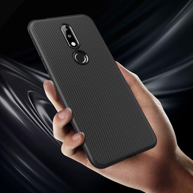 For Nokia 7.1 Case Silicone Slim Non-slip Texture Carbon Fiber Brushed Soft TPU Back Cover For Nokia 7.1 Case Funda Shockproof
