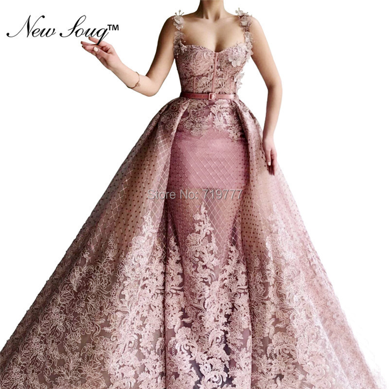 Pink   Evening     Dress   Arabic Middle East Women Party Gowns 2019 Robe De Soiree Dubai Two Pieces Prom   Dresses   With Detachable Train