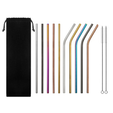 10Pcs Stainless Steel Drinking Straws Multi-Colored Reusable Drink Straw for Tumblers Cold Beverage WXV Sale
