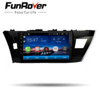 Funrover 10.12 din android8.0 gps Car Radio Multimedia dvd headunit For Toyota Corolla 2014 2015 2016 stereo navigation player