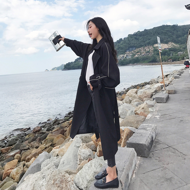 2019 Fashion Long Women   Trench   Coat Black Blue Khaki Double Breasted Spring Autumn Ladies Windbreaker