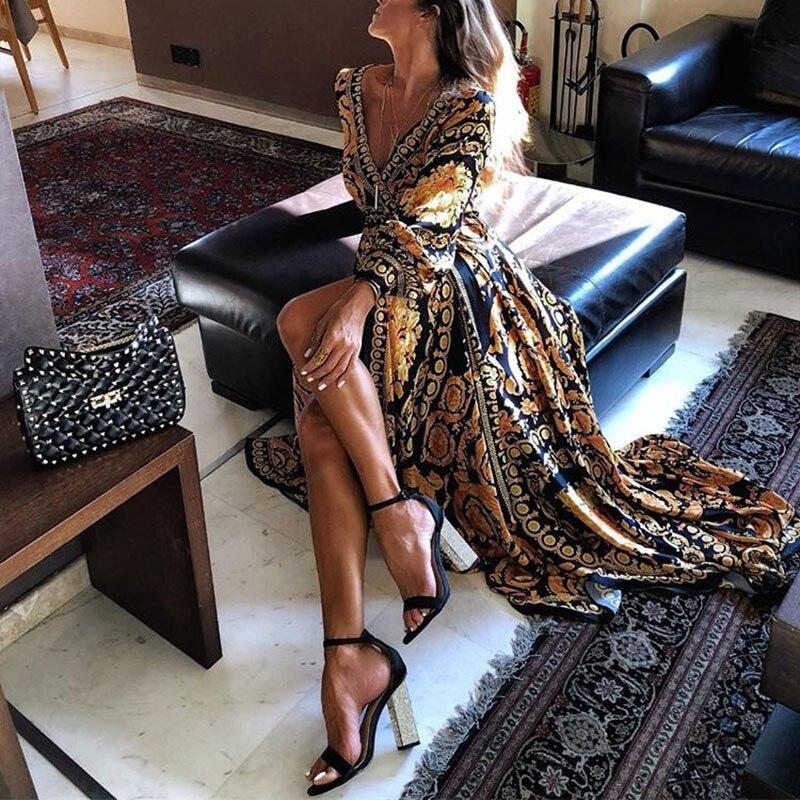 Женское платье с глубоким v-образным вырезом Бохо длинное платье с высоким разрезом летнее вечернее пляжное платье Sundres