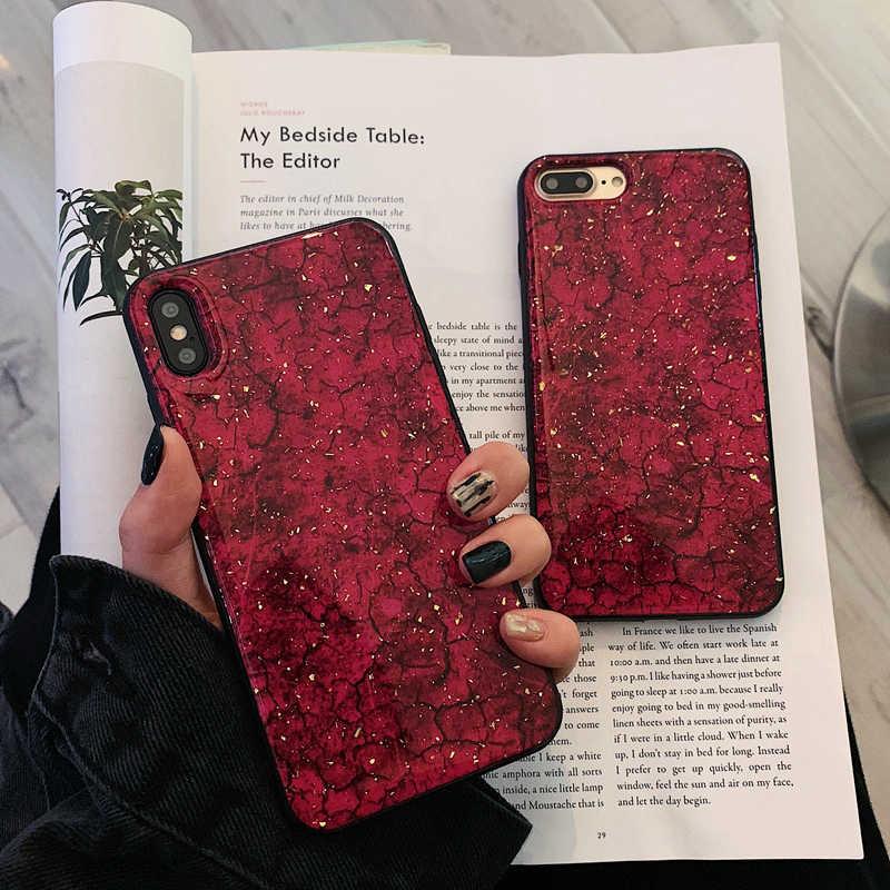 ケース iphone XS 最大金箔亀裂マーブルケース Apple の Iphone 5 X XS 最大 XR 7 8 プラス 6 6 S 保護フィルムシェル Coque Funda