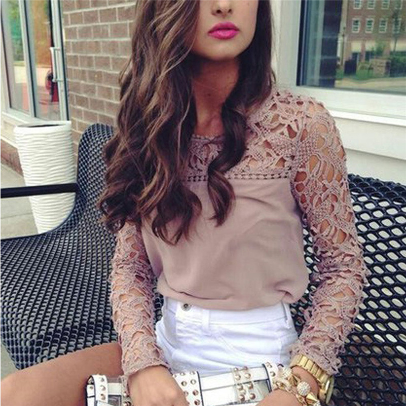 2019 New Elegant Lace Floral Hollow Blouse Shirt Women Long Sleeve Khaki Blouse Spring Summer Hollow Out Tops Blouse Blusas Structural Disabilities