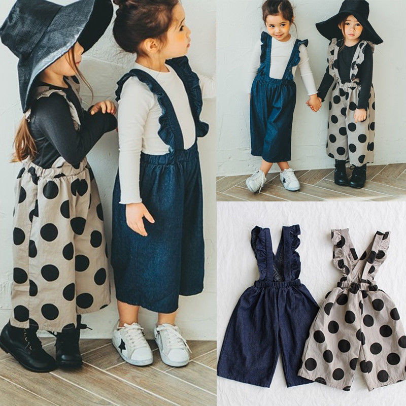 aa8750746 Detail Feedback Questions about PUDCOCO Fashion Kids Baby Girls Denim Overalls  Ruffle Strap Polka Dot Jumpsuit Summer Party Dungarees Outfits 1 5T on ...
