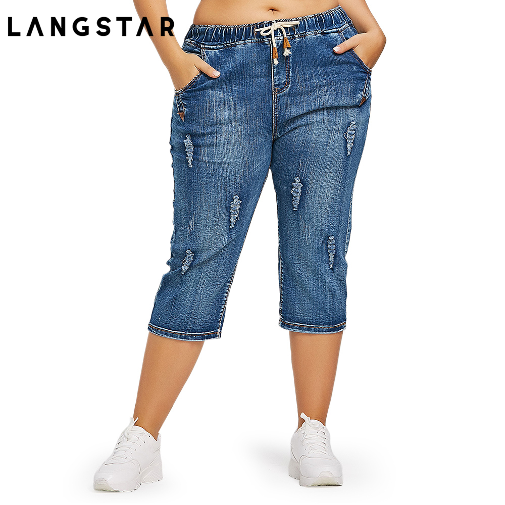 Fashion Plus Size 4XL Drawstring Waist Boyfriend Capris Jeans Mom Women Loose Ripped Distressed Denim Cropped Pants Big Size 4XL