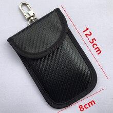 Анти-кражи RFID чехол для блокировки сигнала телефона Автомобильный Дистанционный ключ чехол сумка-чехол из углеродного волокна черный