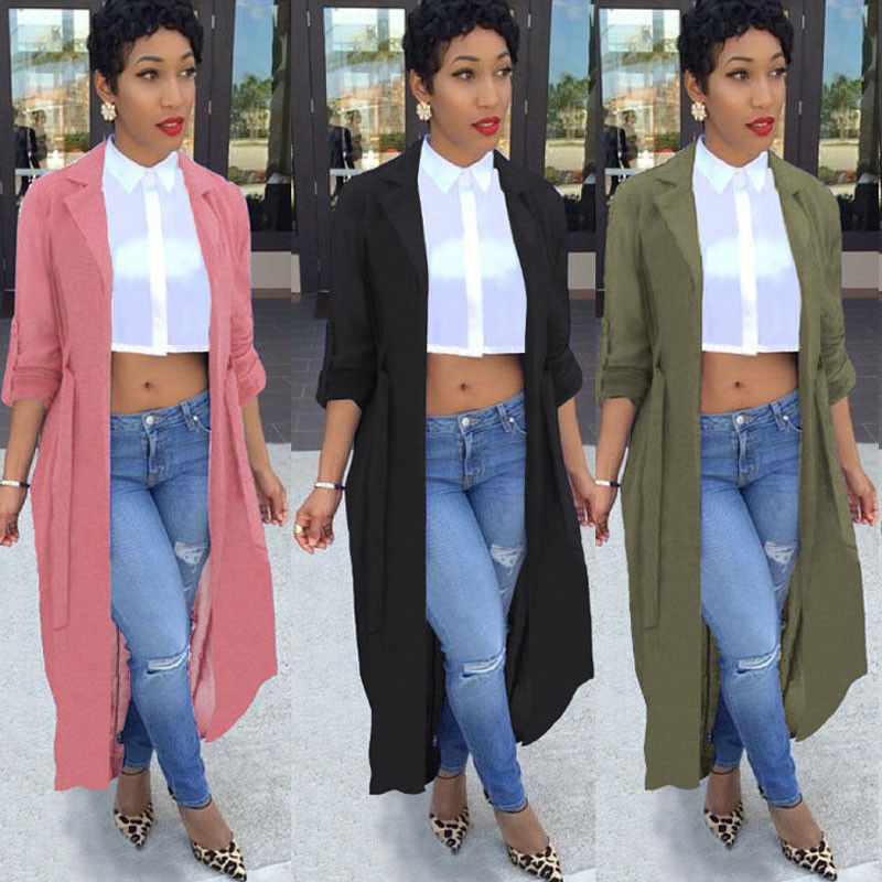 Women Open Stitch Chiffon   Trench   Windbreaker Outwear Sweater Casual Long Sleeve Cardigan Coat Smart Coat Tops