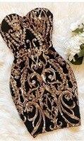 High Quality Black Gold Strapless Mini Dress Evening Club Bodycon Dress