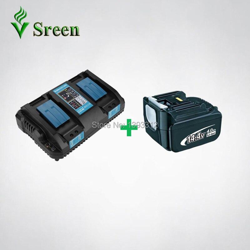 BL1440 4000 mAh pour Makita 14.4 V BL1430 BL1415 Power Tool Batterie Rechargeable batterie lithium-ion Packs avec Double chargeur rapide