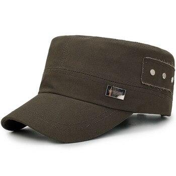 Clásico llano plano sombreros Vintage ejército militar gorras de moda  hombres mujeres ajustable capitán sombrero Unisex gorra de patrulla de alta  calidad d23072a90fe