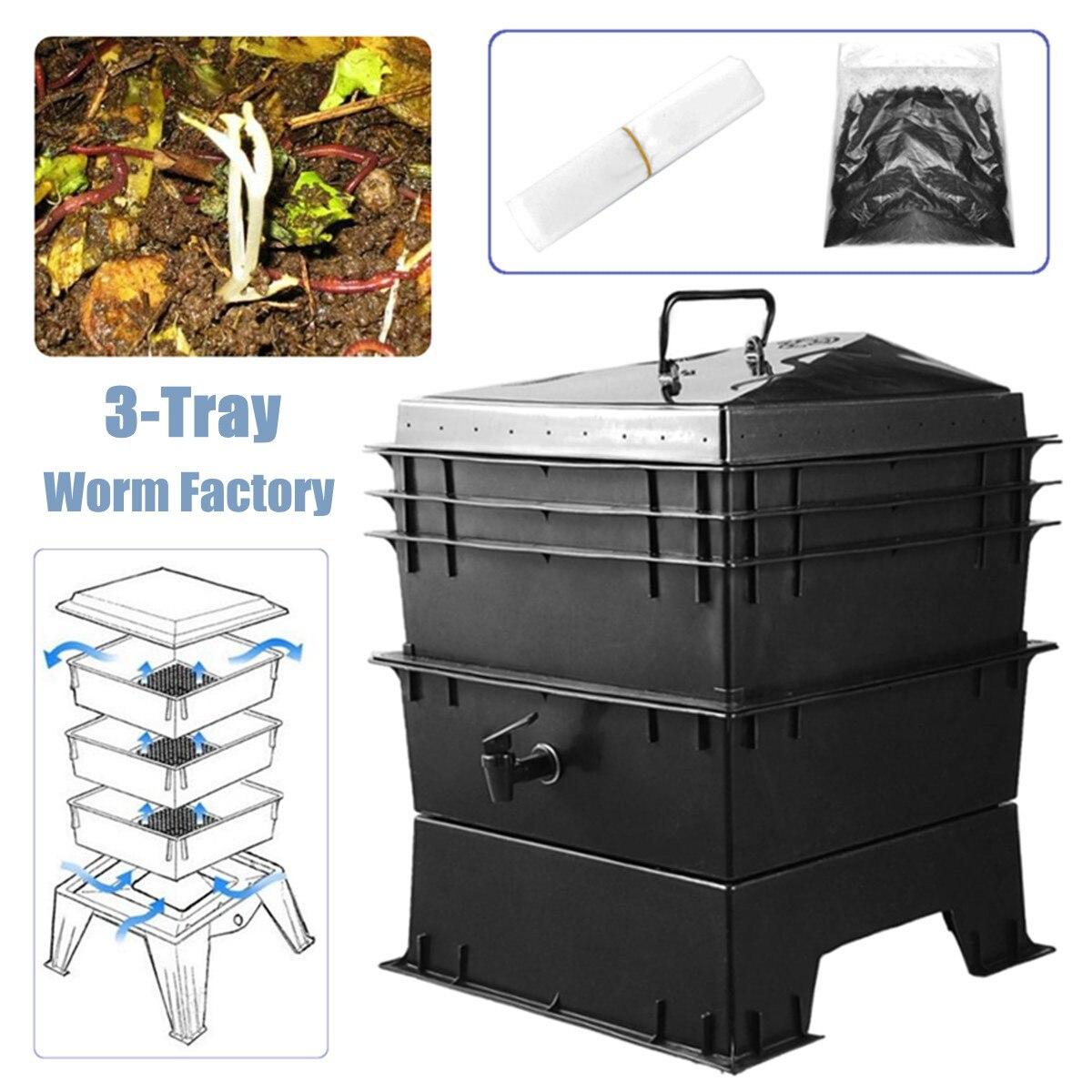 Boîte de Compost de ver de terre de déchets de cuisine PP 80L bricolage composteur usine de ver de terre