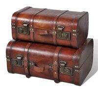 VidaXL 2 In 1 Wooden Treasure Chest 2 Pcs Vintage Brown Wooden Trunk Plywood Home Storage Bag Organization Box Case Holder