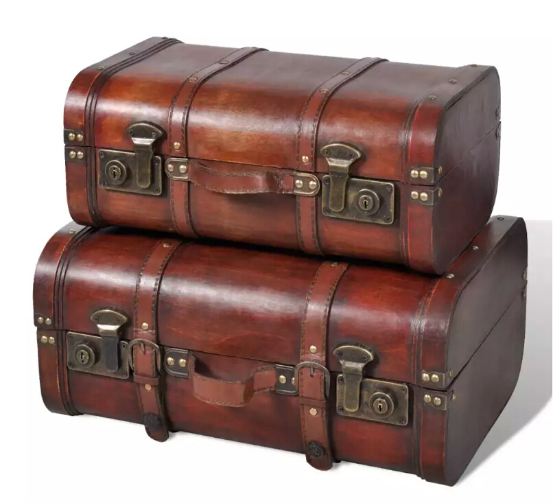 VidaXL Wooden Treasure Chest 2 Pcs Vintage Brown Wooden Trunk Plywood Home Storage Organization V3
